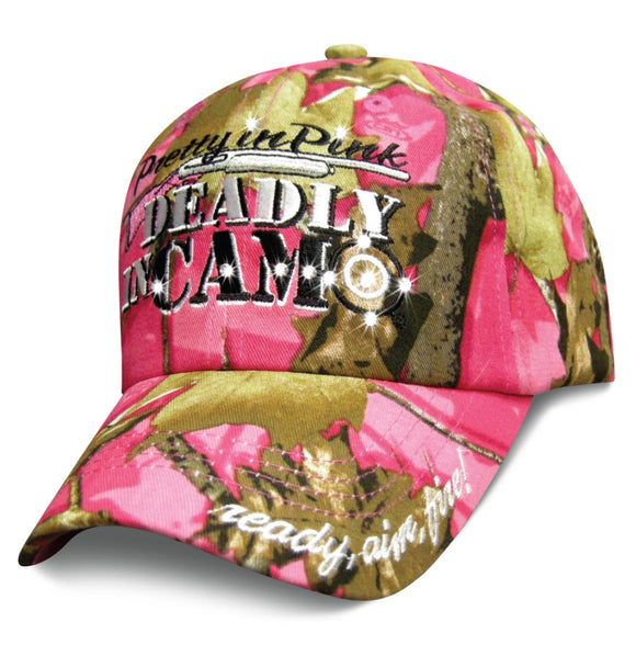 Womens Camo Hat Pretty in Pink Deadly in Camo Baseball Cap