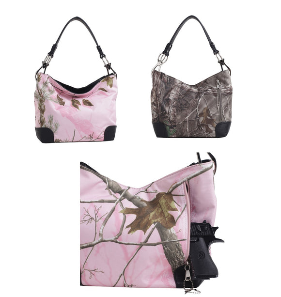 Wholesale Concealed Carry Hobo Purse Camo with Locking Zipper and Holster - Adalyn