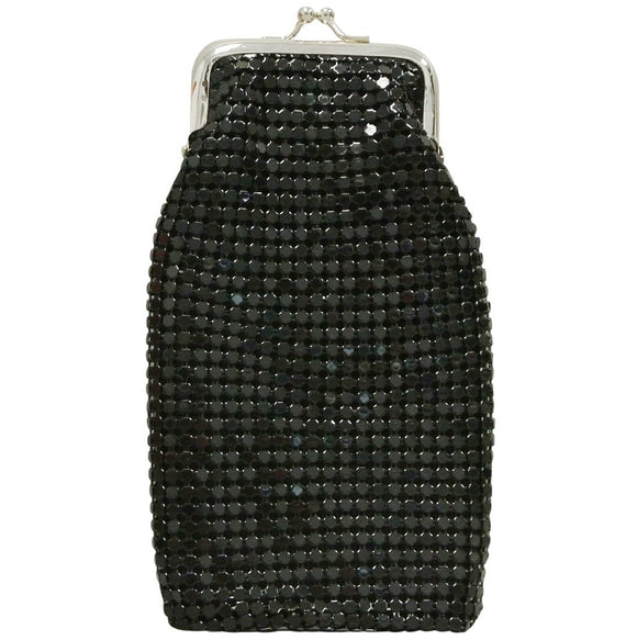 Women's 120's Cigarette Case Black Mesh Retro Twist Clasp, Eyeglass Holder, Large Change Purse