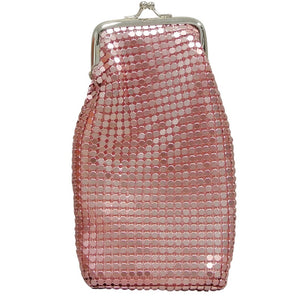 Women's 120's Cigarette Case Pink Metallic Mesh Retro Twist Clasp, Eyeglass Holder, Large Change Purse