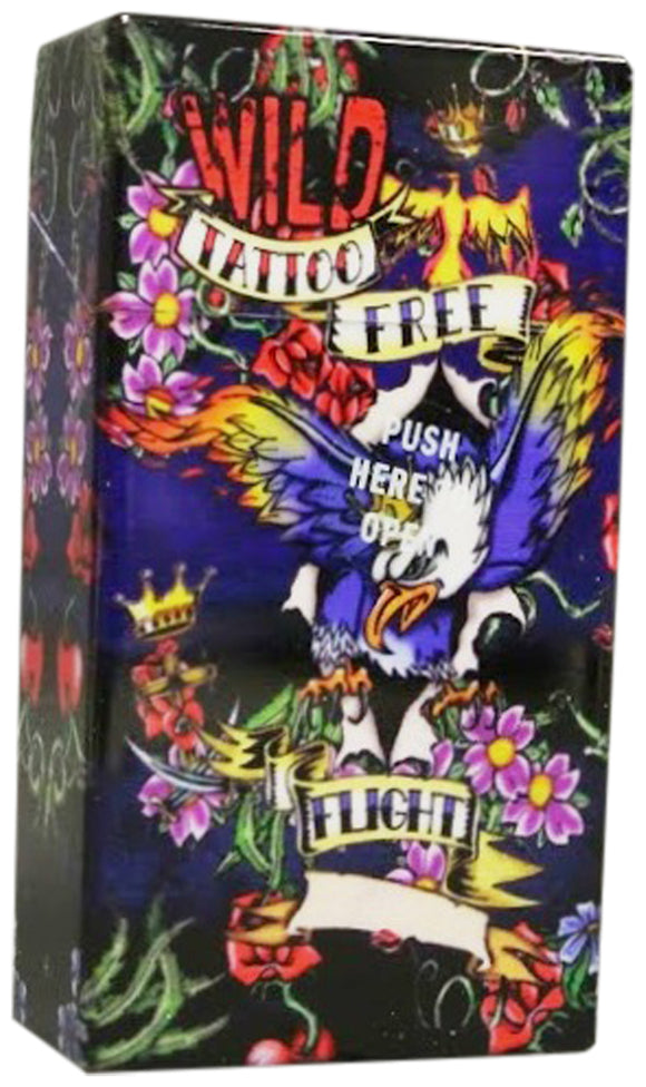 Auto Open Cigarette Case for 100's Wild Tattoo Free Flight Eagle Hard Non Crush Plastic
