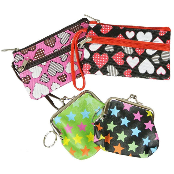 Set of 4 Women's Change Coin Purses in Fun Strars and Hearts Prints