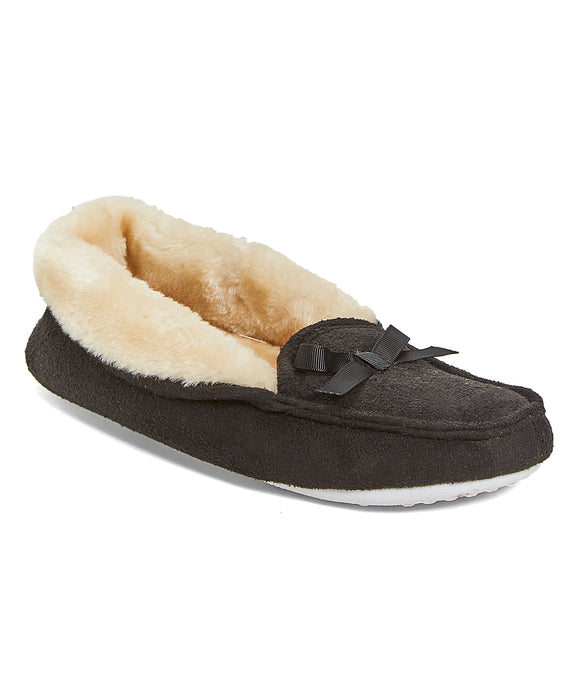 Women's Moccasin Slippers Microfiber House Shoes with Faux Fur Lining and Bow Accent