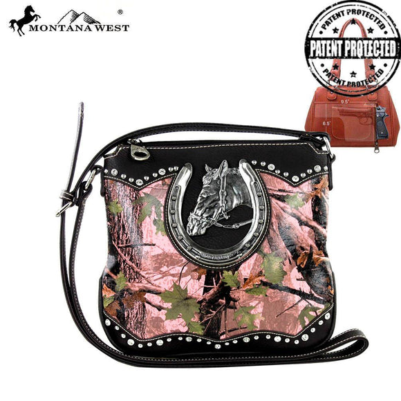 Montana West Camo Concealed Carry Cross Body Purse with Horse Head in Pink or Green