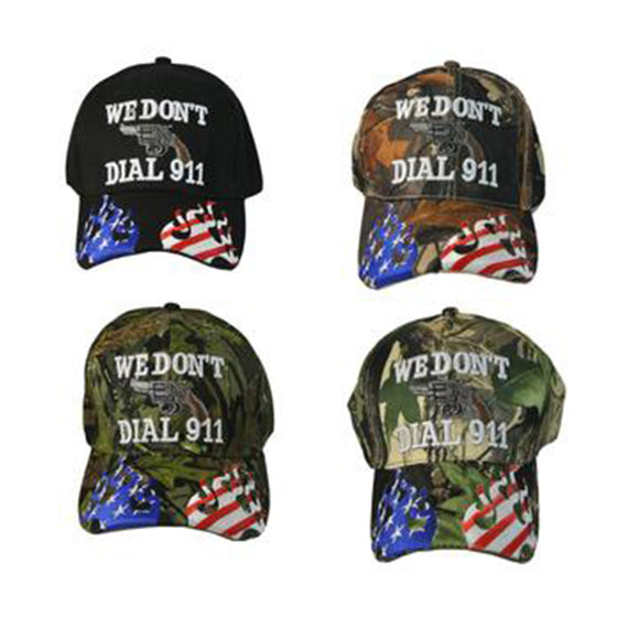 Mens Hat with Gun WE DON'T DIAL 911 2nd Amendment Baseball Cap