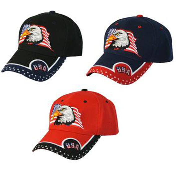 Mens Patriotic Hat with American Flag and Bald Eagle USA