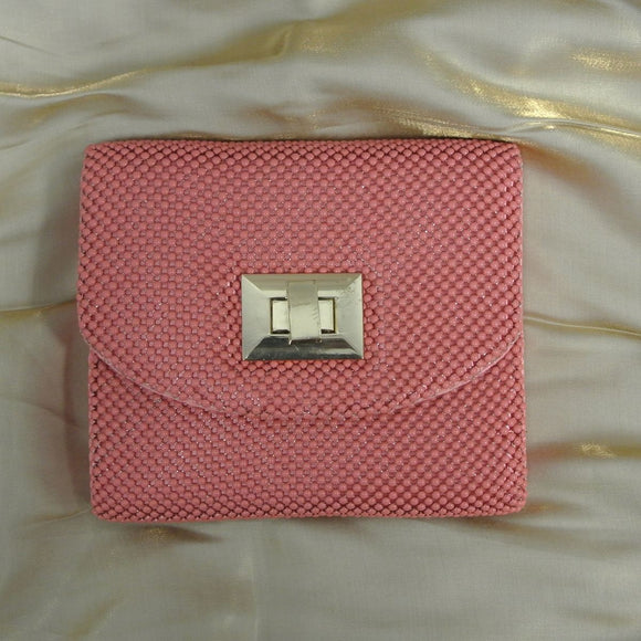 La Regale Beaded Evening Bag Peach Pink Clutch Purse with cross body Chain Strap