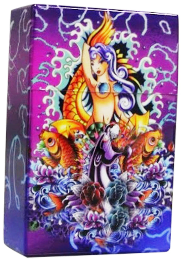 Women's Cigarette Case Mermaid Purple Box with Push Up Lid Fits Regulars