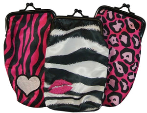 Set of 3 Cigarette Cases in Fun Prints Cheetah Zebra with Kiss & Hot Pink Zebra