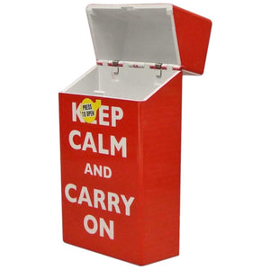 Cigarette Case Box Fits 100's KEEP CALM AND CARRY ON Auto Open