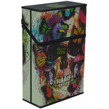 Cigarette Case with Butterfly Sugar Skull Glow in the Dark Auto Open Pack Holder