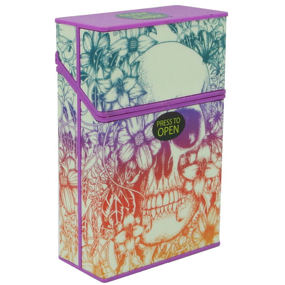 Cigarette Case with Purple Floral Sugar Skull Glow in the Dark Auto Open Pack Holder
