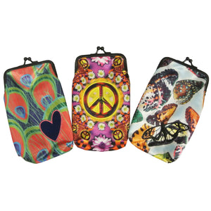 Set of 3 Cigarette Cases in Fun Prints- Peacock, Floral Peace and Butterfly