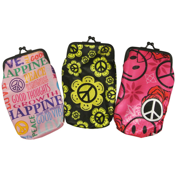 Set of 3 Cigarette Cases in Fun Prints-  Good Thoughts, Happy Peace, Hot Pink Peace