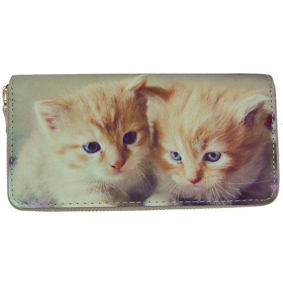 Women's Clutch Wallet Zip Around Billfold With 2 Kittens