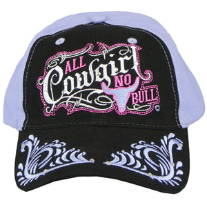 Womens Hat ALL COWGIRL NO BULL Baseball Cap