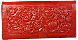Womens Wallet Tooled Leather Roses Clutch Billfold Made in Mexico