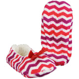 Womens Ballet Slippers Chevron Print Cozy House Shoes with Bow