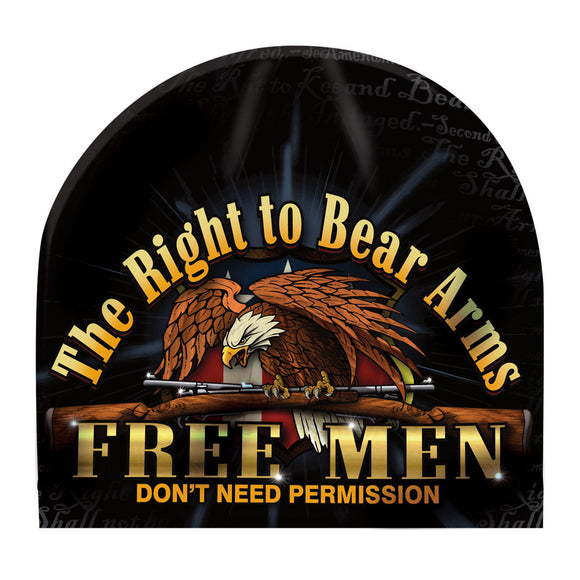 Mens Second Amendment Sublimation Beanie THE RIGHT TO BEAR ARMS FREE MEN DON'T NEED PERMISSION Fleece Lined Hat