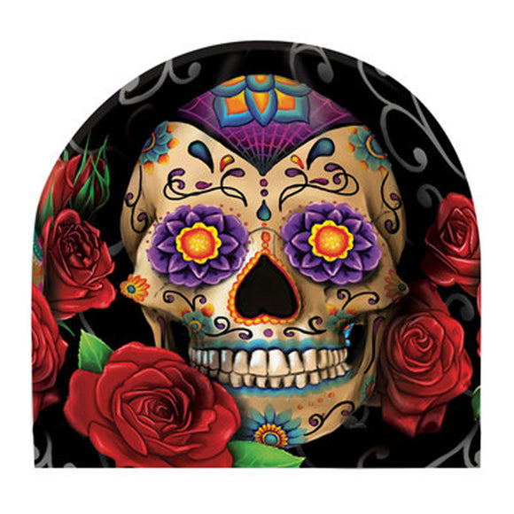Sugar Skull Sublimation Beanie Fleece Lined Hat with Roses