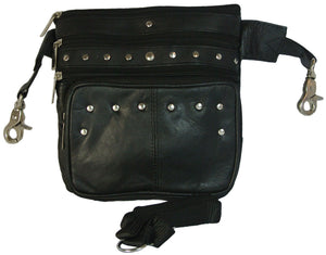 Studded Leather Biker Waist Hip Bag and Cross Body Purse