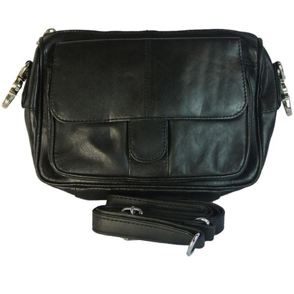 Womens Leather Biker Hip Belt Waist Bag And Cross Body Purse