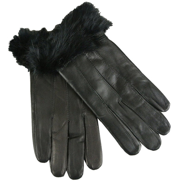 Womens Leather Gloves with Faux Fur Trim in Black