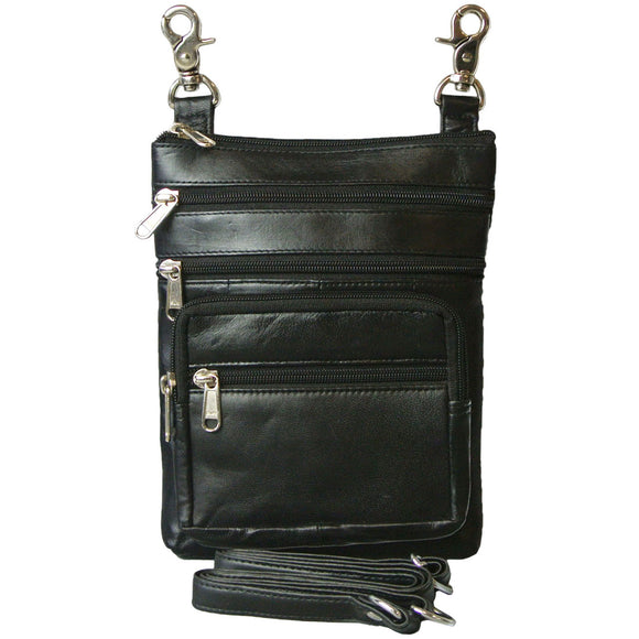 Lambskin Leather Biker Belt Bag and Cross Body Purse with Zippers Galore