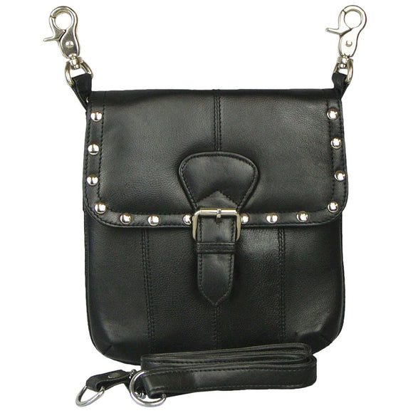 Studded Leather Biker Belt Bag Waist Pack and Cross Body Purse with Buckle (Black)