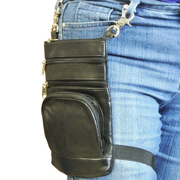 Leather Biker Belt Bag Attaches to Thigh and Cross Body Purse Black