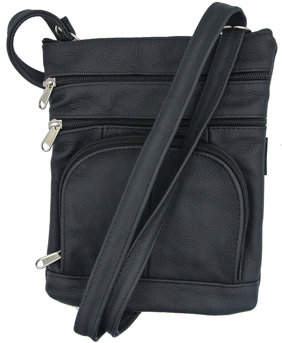 Texcyngoods Pebbled Leather Cross Body Purse with Organizer Black