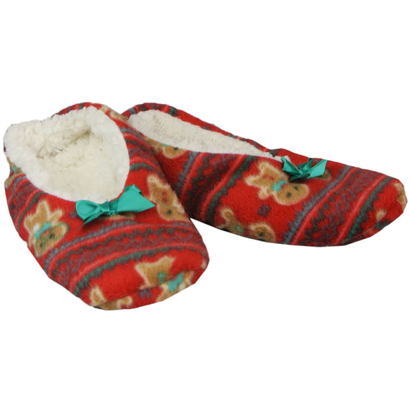 Womens Slippers Cute Christmas Holiday Cozy Ballet House Shoes - Size Small