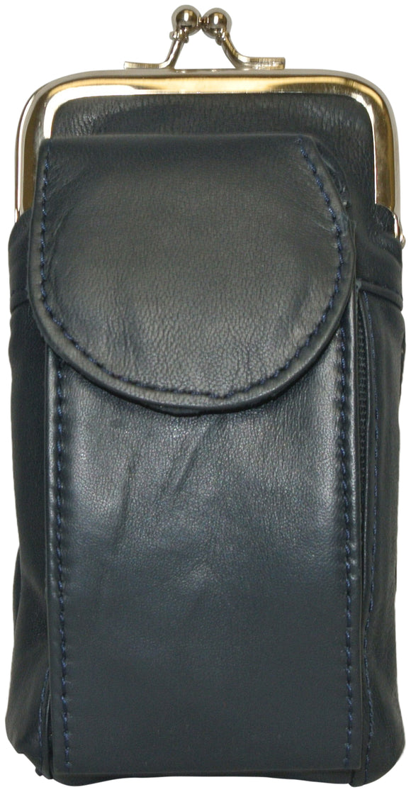 Texcyngoods Womens Leather Cigarette Case with Refillable Lighter Holder - Navy