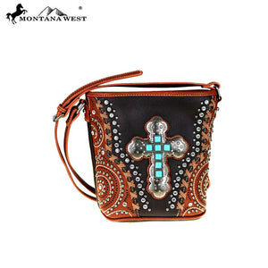 Montana West Cross Body Purse Spiritual Collection Bucket Style Handbag with Turquoise Cross