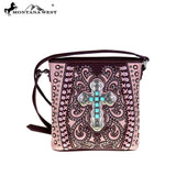 Montana West Cross Body Purse Boot Scroll with Turquoise Cross Medallion