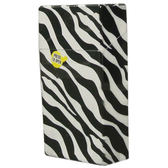 Flip Top Cigarette Case for 100's Hard Non Crush Case - Zebra Stripe Print