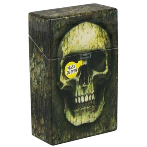 Skull Print Cigarette Case Hard Non Crush Shell Flip Top