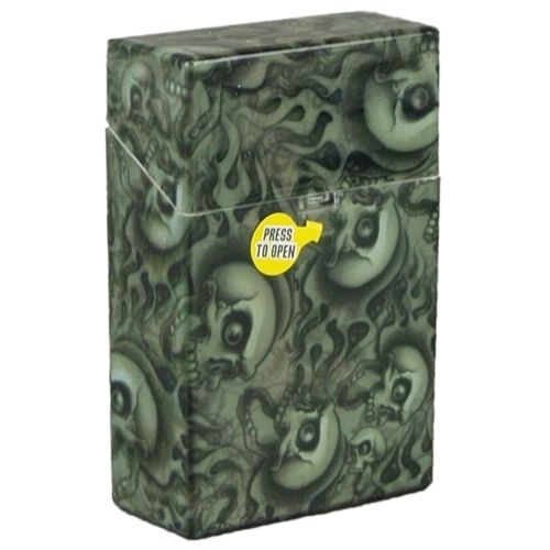 Green Skulls Cigarette Case Hard Non Crush Shell Flip Top