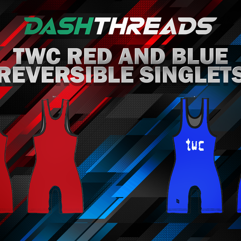 twc red and blue reversible singlet.