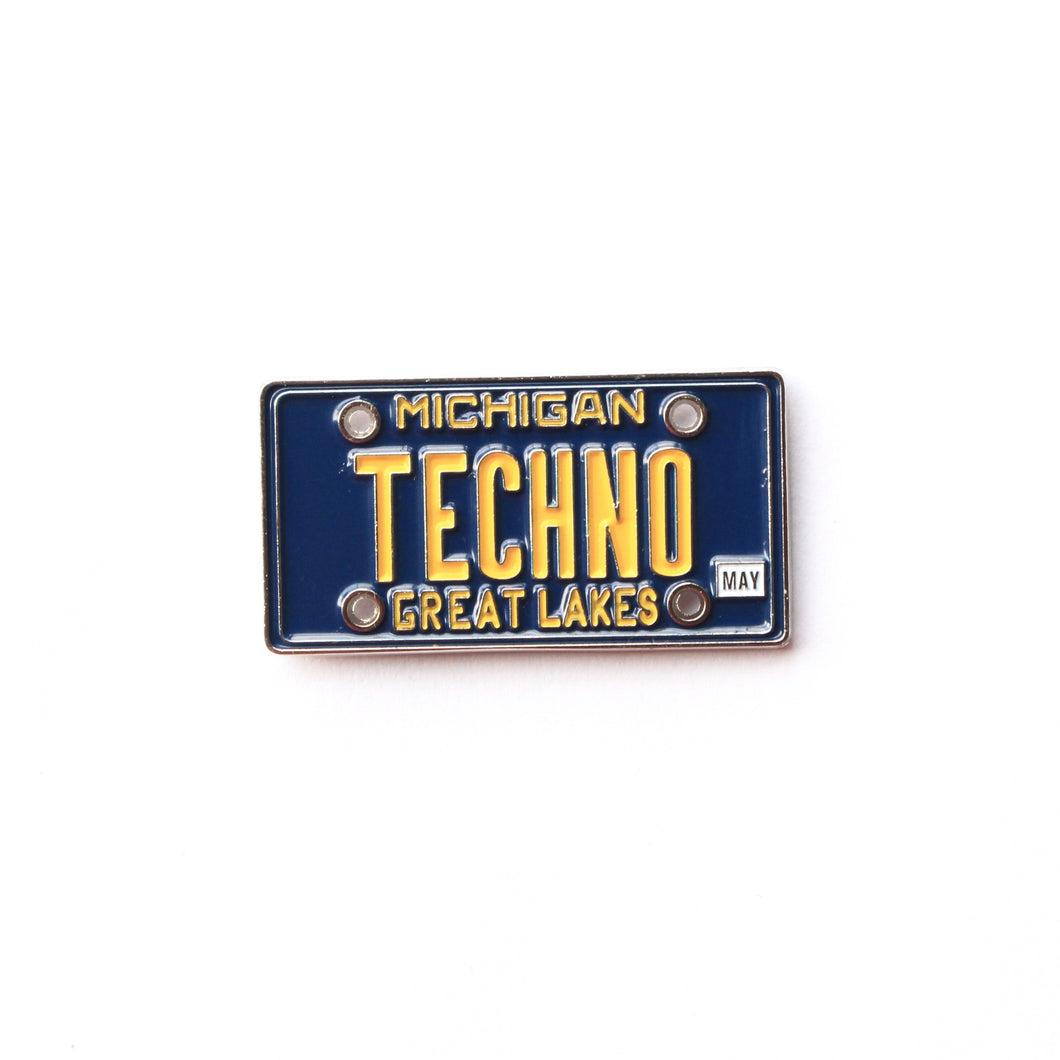 Michigan Techno License Plate Pin - ThePinCartel