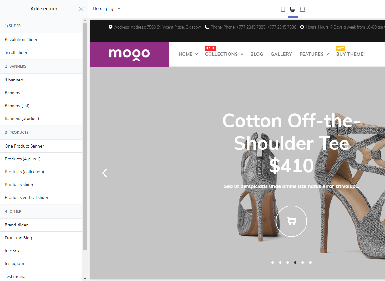 Sections, MOGO Shopify theme