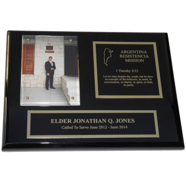 Black Piano Finish Missionary Plaque - Gold Trim