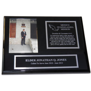 Black Piano Finish Missionary Plaque - Silver Trim