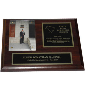 Cherry Finish Missionary Plaque - Gold Trim
