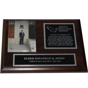 Cherry Finish Missionary Plaque - Silver Trim