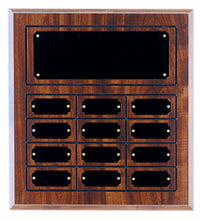 Cherry Finish 12 Plate Perpetual Plaque