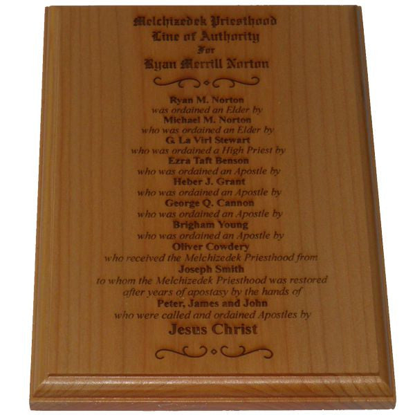 Priesthood Line of Authority Plaque - Alder