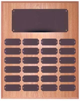 Oak Finish 24 Plate Perpetual Plaque