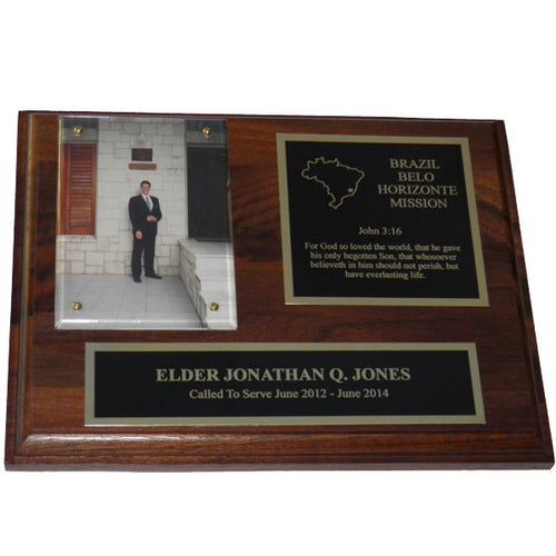 Solid Walnut Missionary Plaque - Gold Trim