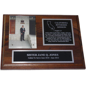 Solid Walnut Missionary Plaque - Silver Trim